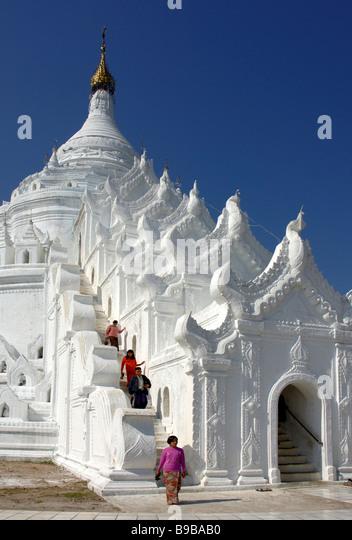 Hsinbyume Pagode at Mingun Burma Myanmar - Stock-Bilder