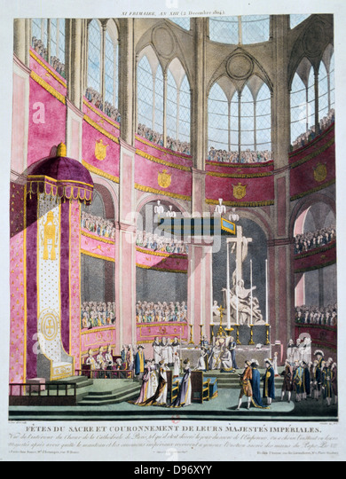 Cornation of Napoleon I and Empress Josephine, 2 December 1804. Hand-coloured engraving - Stock-Bilder