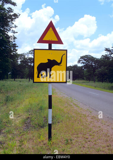 Road sign 'Elephants crossing', Zimbabwe - Stock Image