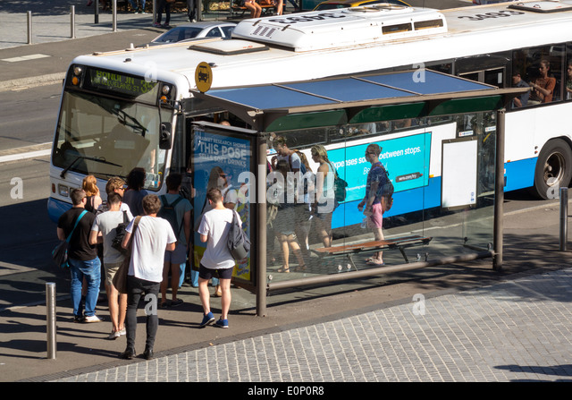 Sydney Australia NSW New South Wales University of Sydney education student boarding public bus City Road - Stock Image