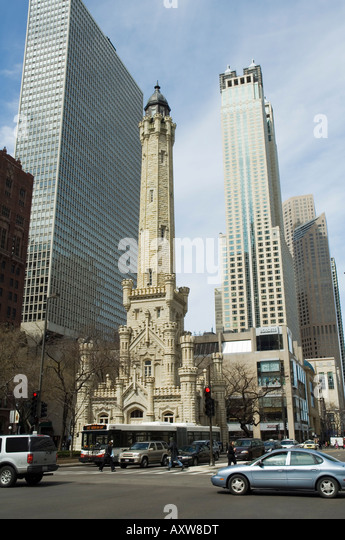 The historic Water Tower, near the John Hancock Center, Chicago, Illinois, USA - Stock Image