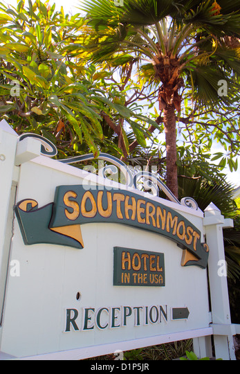 Florida Florida Keys Key West Duval Street Southernmost Hotel in the USA sign - Stock Image