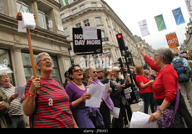 London, UK - 1 July 2017 - A group of women Demonstrators sing during a national demonstration demanding for an - Stock Image