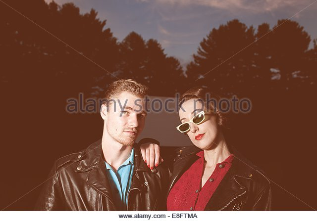 Portrait of young couple outdoors - Stock-Bilder