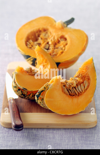 Patidou squash cut open - Stock Image