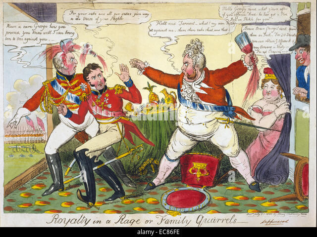 Colour print of George IV - Stock Image