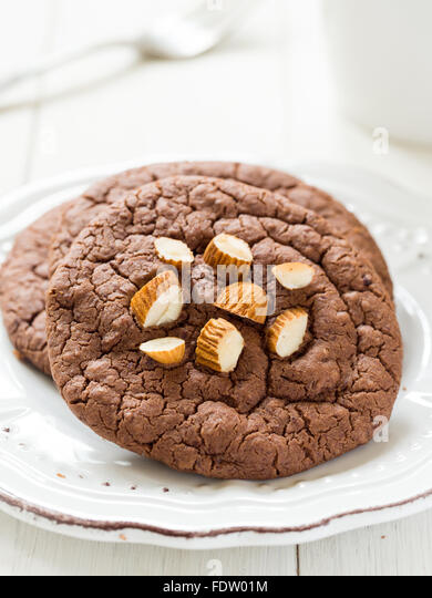 Vegan flowerless gluten free chocolate cookies with almonds. - Stock Image
