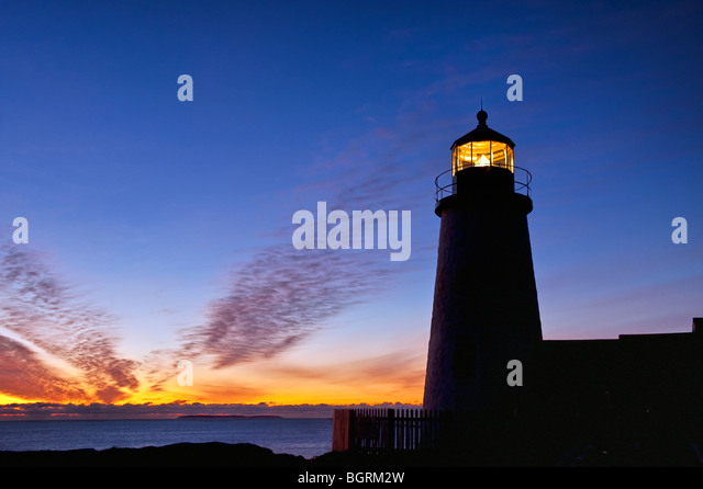 Pemaquid Point Light Station, Muscongus Bay, Bristol, Maine, USA. 1827 - Stock Image