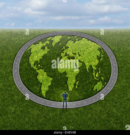 Global markets access and accessibility concept as a businessman standing in front of a infinite circle road with - Stock-Bilder