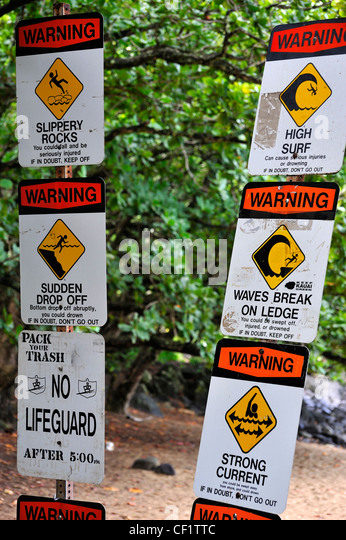 danger signs beach hawaii stock photos amp danger signs