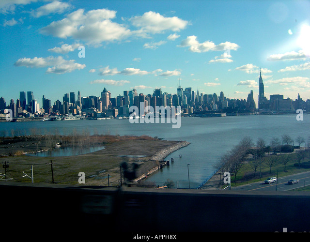Panoramic View of The New York City Skyline Including The Empire State Building Copy Space - Stock Image