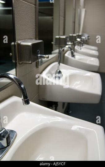 Rest stop toilet stock photos rest stop toilet stock for Public bathroom sink