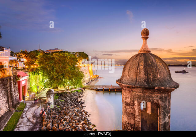 San Juan, Puerto Rico old city wall  at twilight. - Stock Image