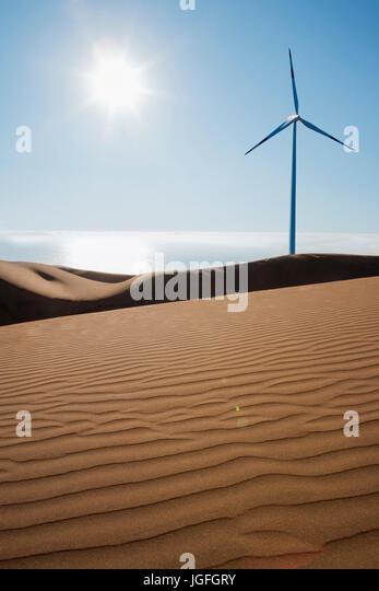 Wind turbine on sunny beach - Stock Image