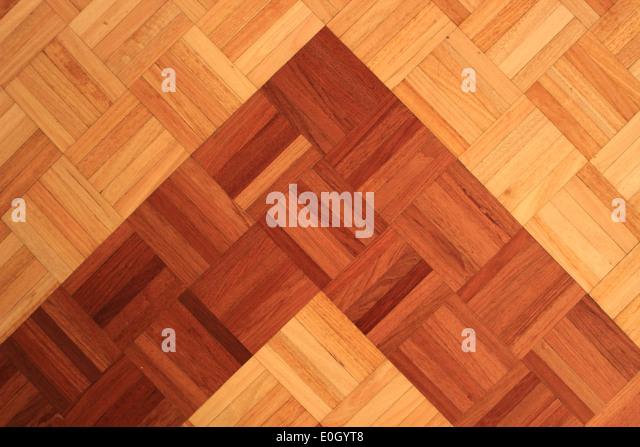 Teakwood floor of quadratic sticks forming a pyramid - Stock-Bilder