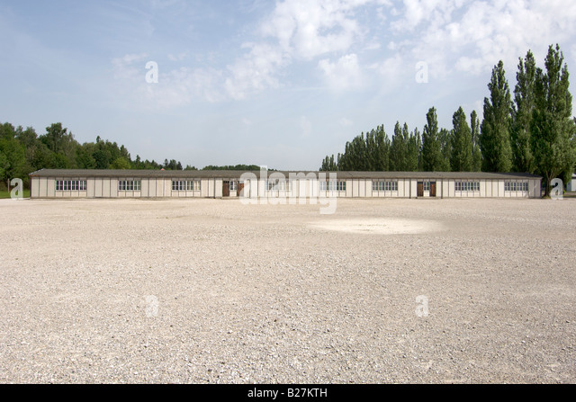 Barracks and parade ground in the former Dachau concentration camp on the outskirts of Munich in Germany. - Stock Image