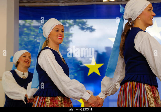 Estonian folk dance group performing in Luxembourg during an outdoor European festival in May 2016 - Stock Image