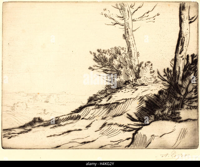 Alphonse Legros, Hill with Bushes (La butte aux brousailles), French, 1837-1911, etching and drypoint - Stock-Bilder