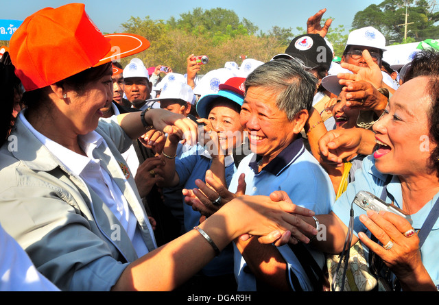 The Thai prime minister, Yingluck Shinawatra and her supporters - Stock Image