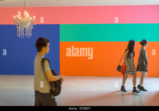 Sydney Australia NSW New South Wales West Circular Quay Museum of Contemporary Art MCA mural painting Asian teen - Stock Image