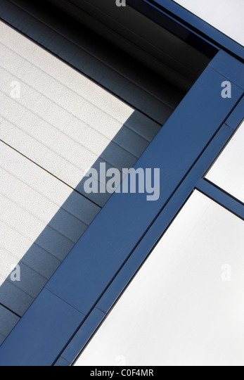 White and blue geometric abstraction - Stock Image
