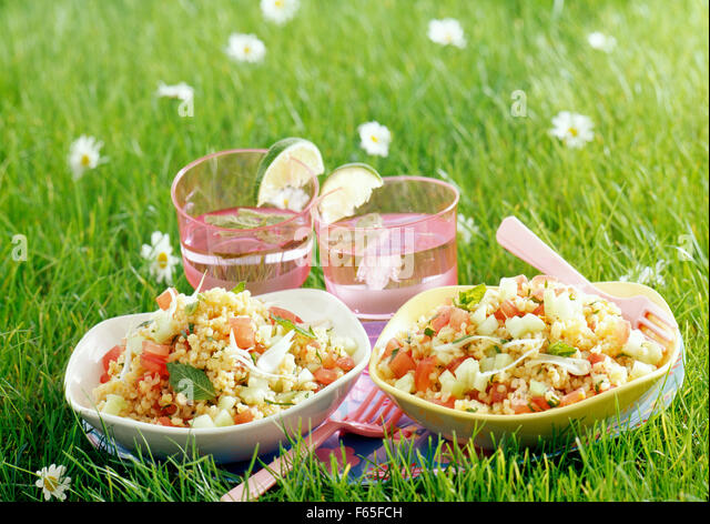 Bulgour salad (topic : in the open air) - Stock Image