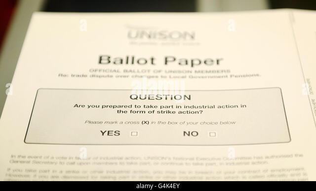 Unison strike ballot - Stock Image