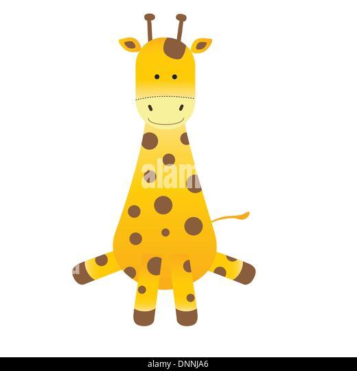 Cartoon giraffe on white background - Stock-Bilder