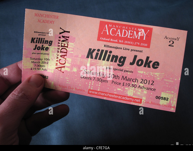 Killing Joke concert ticket for Manchester Academy Two 10th march 2012 held in an hand - Stock Image