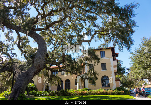 Winter Park Florida Rollins College campus school Rollins Hall live oak tree student - Stock Image