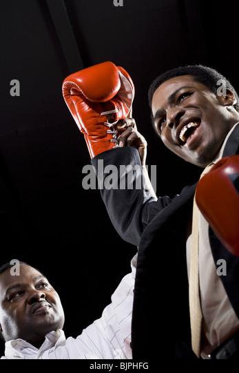 Businessman boxing - Stock Image