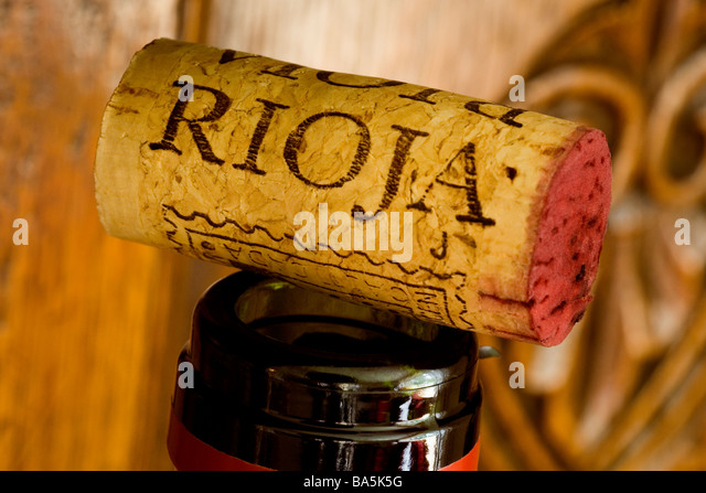 CORK FROM A BOTTLE OF RIOJA RED WINE - Stock Image