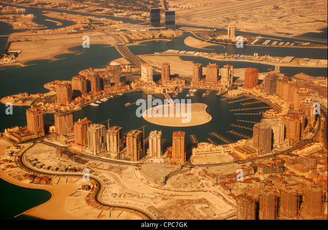 Aerial view of The Pearl, Qatar - Stock Image