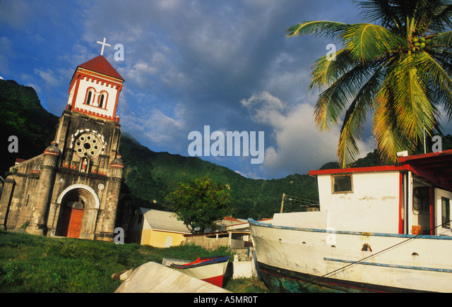18C Catholic Church in Soufriere on the Caribbean Island of Dominica - Stock-Bilder