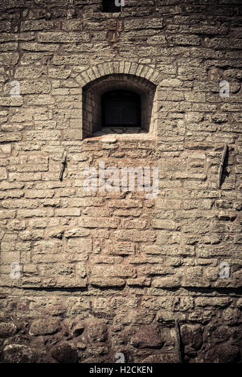 Castle wall and window. Architectural detail. Vadstena castle a historical landmark in Ostergotland, Sweden - Stock-Bilder
