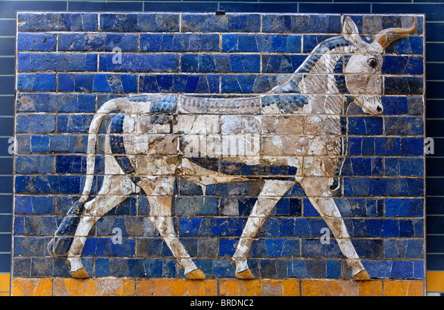 Relief from Ishtar Gate, Archeology Museum, Babylon, Istanbul, Turkey - Stock Image