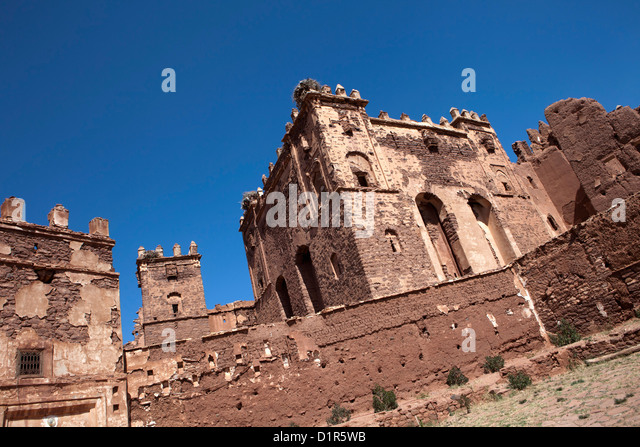 Morocco, Telouet, Ancient Glaoui fortress or kasbah or ksar. - Stock-Bilder