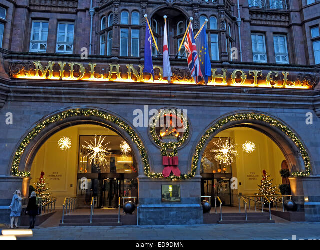 The Midland Grand Hotel at Xmas in December, Manchester , England, UK at dusk - Stock Image