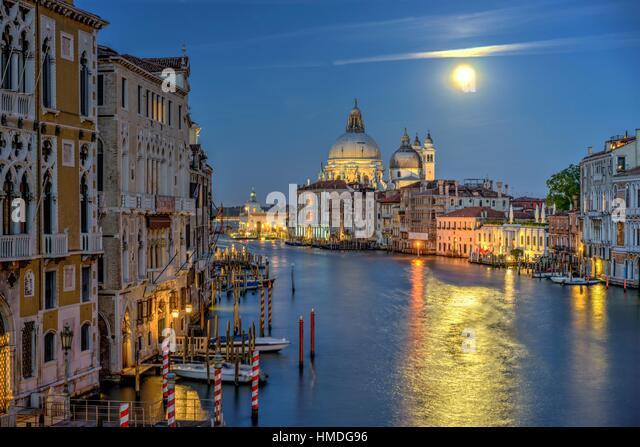 Grand Canal and Santa Maria della Salute Basilica. Venice Italy - Stock Image