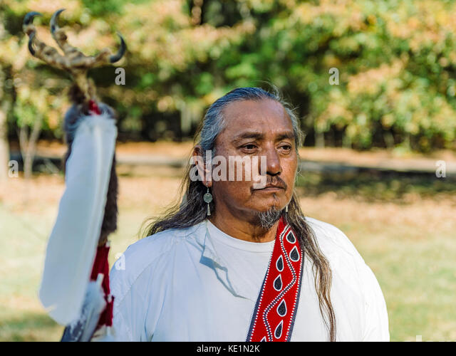 Native American Indian of Creek Confederacy ancestry, Fort Toulouse, Fort Jackson, Wetumpka Alabama USA. - Stock Image