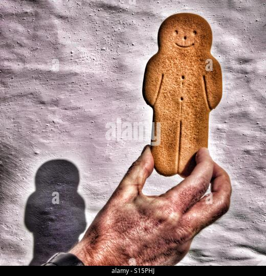 Gingerbread man wall shadow - Stock-Bilder