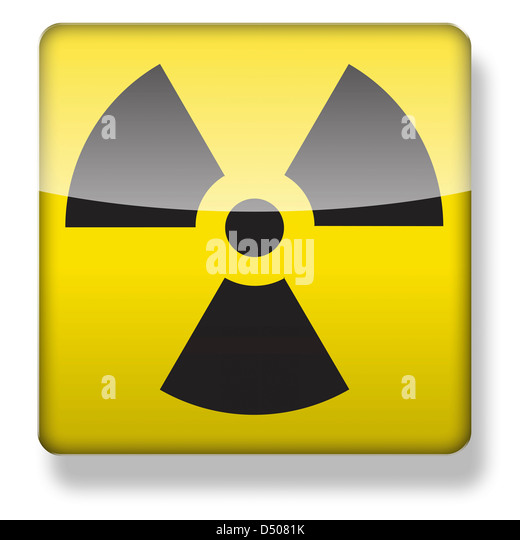 Radioactive logo as an app icon. Clipping path included. - Stock Image