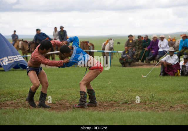 Mongolian wrestling at a Nadaam in the East of the country - Stock Image