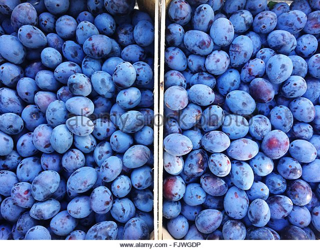Full Frame Shot Of Plums At Market - Stock Image