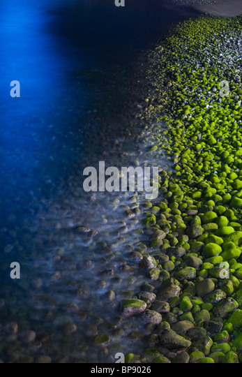 Algae covered pebbles on the beach at night, Ponta do Sol, Madeira, Portugal - Stock Image