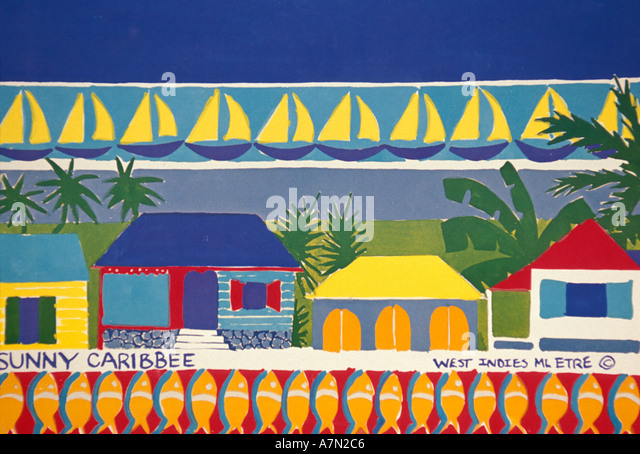 British Virgin Islands Tortola Road Town Sunny Caribbee Spice Co Art Gallery sign - Stock Image