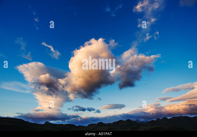 Cloud formation at sunrise Cloud formation at sunrise over the Andes mountains in South America - Stock Image