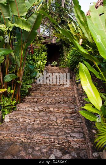 Entryway to Blancaneaux Lodge, Belize - Stock-Bilder
