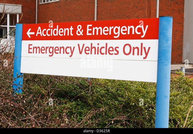 accident and emergency sign at local hospital casualty department - Stock Image