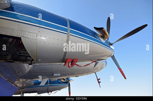 Retro propeller DC-3 airplane engine and nose view - Stock Image
